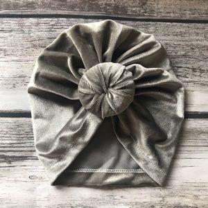 Other - Brand New Grey Velvet Baby Girl Knot Turban Cap